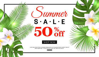 Summer sale banner design with tropical flowers and foliage, vector illustration