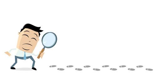 asian businessman investigating suspicious footprints