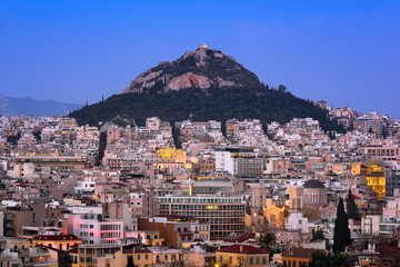 Fototapete - Aerial View of Athens and Mount Lycabettus from Areopagus Hill, Athens, Greece