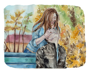Couple in the autumn. Hand drawn watercolor illustration