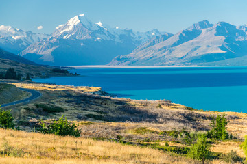 Tuinposter Nieuw Zeeland Mount Cook, the highest New Zealand mountain