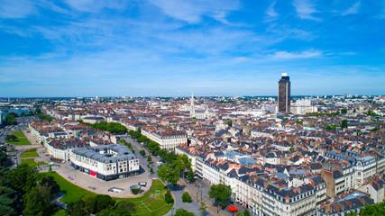 Photographie aérienne du centre de Nantes, en Loire Atlantique, France Fotomurales