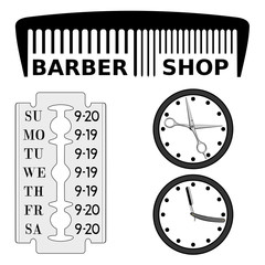 Barbershop signboard and schedule. Vector image of the details of the outdoor sign for the hairdresser. Scissors and a razor can be animated. No fonts, everything is drawn.