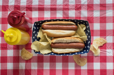 Two hog dogs with chips on Fourth of July setting