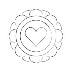 sticker with heart icon vector illustration design