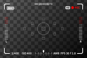 Camera viewfinder with iso and battery marks on transparent background