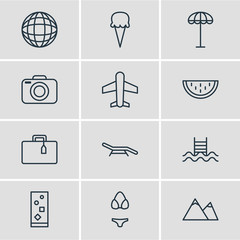 Vector Illustration Of 12 Season Icons. Editable Pack Of Umbrella, Melon, Cocktail And Other Elements.
