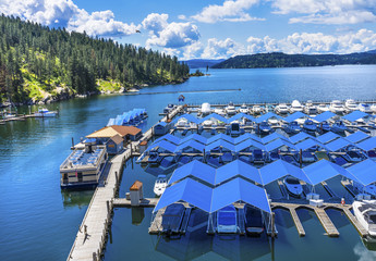 Blue Covers Boardwalk Marina Piers Boats Reflection Lake Coeur d' Alene Idaho