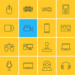Vector Illustration Of 16 Device Icons. Editable Pack Of Video Chat, Headset, PC And Other Elements.