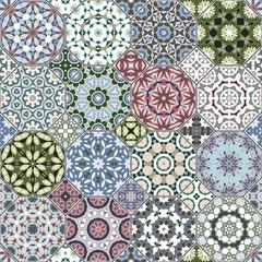 A set of multicolor tiles.