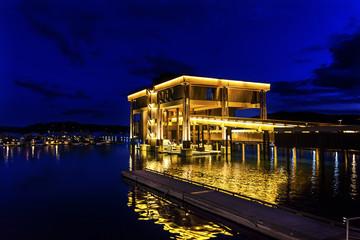 Building Boardwalk Marina Piers Boats Reflection Night Lake Coeur d' Alene Idaho