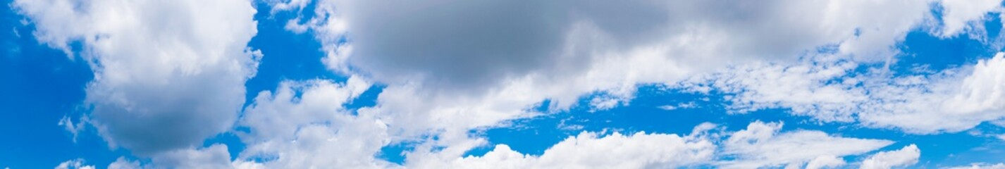 Beautiful of panorama blue sky with white cloud for texture background. Concept idea background.