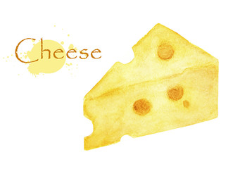 Cheese on a white background. Watercolor illustration made by hand. Isolated.