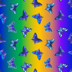 Seamless pattern with butterflies on a rainbow background, vector