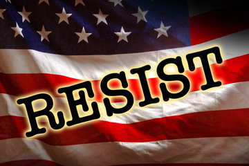 The Word Resist on the USA Flag