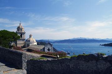 porto venere santuario madonna bianca con golfo dei poeti in liguria italia europa da visitare con turismo italy europe