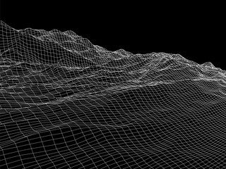 Wireframe landscape vector background. Cyberspace grid technology illustration.