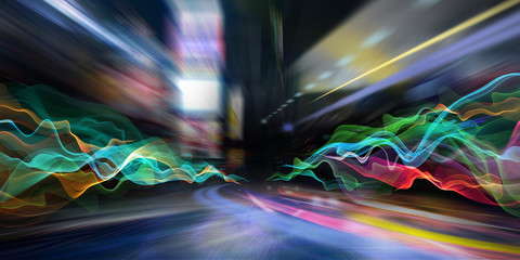 abstract city lights and colored waves