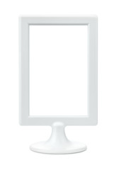 White plastic empty picture frame stand