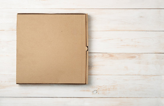 Top view of blank pizza box