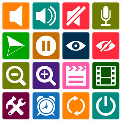 Multi Media Flat Icon Set Color