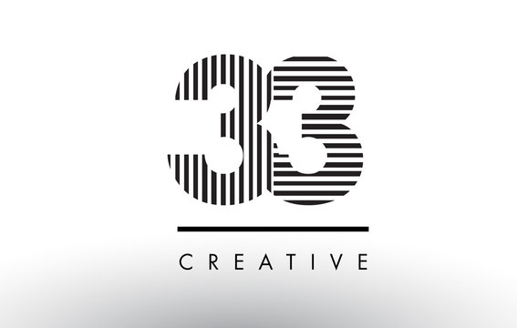 33 Black and White Lines Number Logo Design.