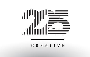 225 Black and White Lines Number Logo Design.