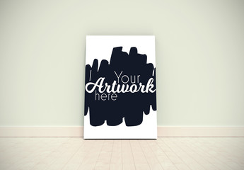 Large Canvas Leaning Against a Wall Mockup