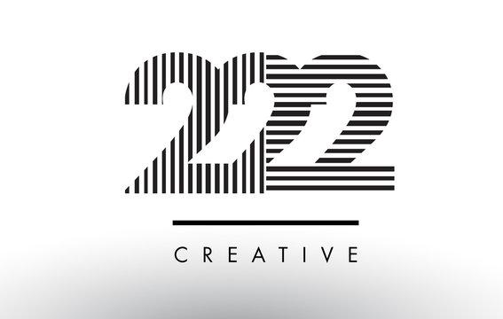 222 Black and White Lines Number Logo Design.