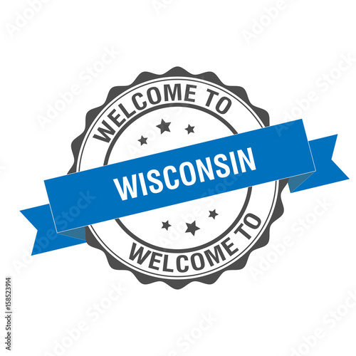 Welcome To Wisconsin Stamp Illustration