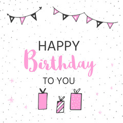 Happy Birthday greeting card and party invitation templates, black and pink colors. Hand drawn elements for perfect  girls design.