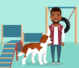 Big dog is on the site for dog walking. Playground with various barriers for dogs.In flat style cartoon.