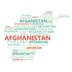 Afghanistan. Business and travel concept background. Word cloud with country name in different languages of the world.