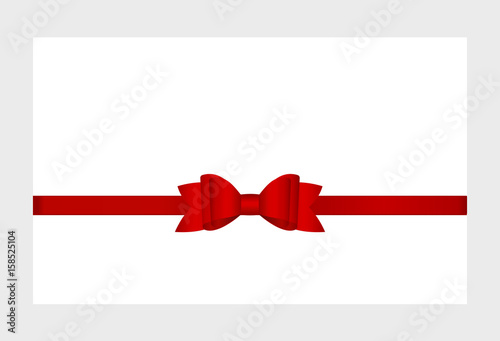 gift card with shiny red satin gift bow close up has space for text