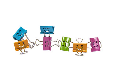 colored binder clips on a isolate white background