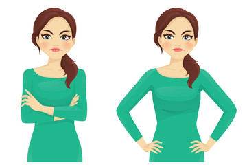 Woman angry emotion in different poses vector