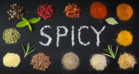 Spicy Schrift mit Gewürze