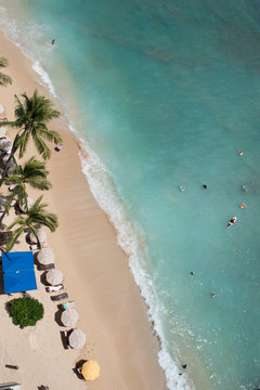 Aerial view of Waikiki shoreline