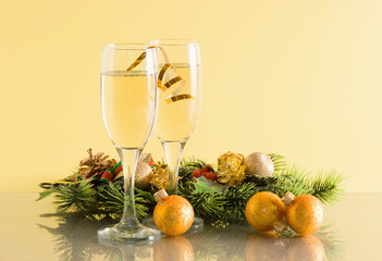 glasses of wine and Christmas decoration