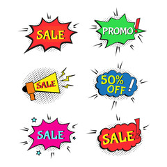Set of Sale comic text speech. Promo bubbles phrase