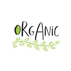 Vector eco, bio green logo or sign. Vegan, raw, healthy food badge