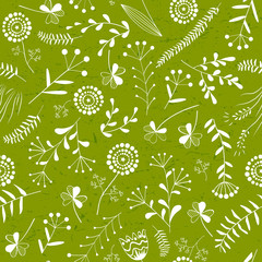 Wall Mural - Floral vector seamless pattern with wild herbs, forest flowers and leaves. Vintage green botanical background.