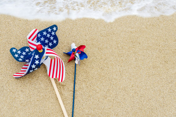 Patriotic USA background on the sandy beach