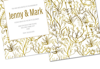 White and Gold Floral Wedding Invitation Layout