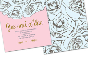 Pink and Blue Floral Wedding Invitation Layout