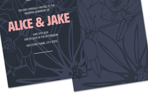 Dark Blue Floral Wedding Invitation Layout