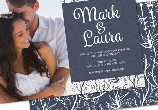 Blue and White Floral Wedding Invitation with Photo Section Layout