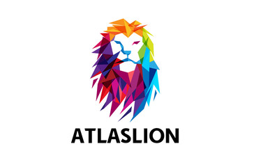 Colorful Lion Head Logo Design Illustration