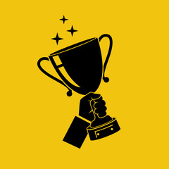 Winning cup in hand icon. Symbol of success silhouette. Pictogram winning, championship. Gold trophy. Award bowl. Vector illustration flat design. Isolated on yellow background. Leadership concept.