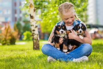 Little girl with a berner sennenhund puppies, outdoor, summer